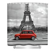 Eiffel Tower With Car. Black And White Photo With Red Element. Shower Curtain