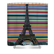 Eiffel Tower With Lines Shower Curtain