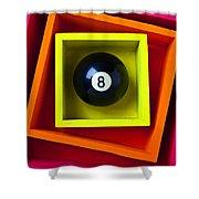 Eight Ball In Box Shower Curtain