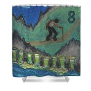 Eight Of Cups Illustrated Shower Curtain