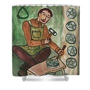Eight Of Pentacles Illustrated Shower Curtain