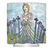 Eight Of Swords Illustrated Shower Curtain