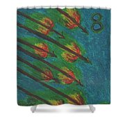 Eight Of Wands Illustrated Shower Curtain