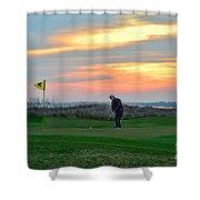Eighteenth Green At Sunset Shower Curtain