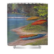 Eighth Lake Canoes Shower Curtain