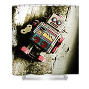 Eighties Cybernetic Droid  Shower Curtain