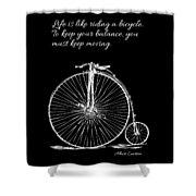 Einstein's Bicycle Quote - White Shower Curtain