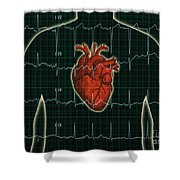 Ekg And Heart Over Torso Shower Curtain