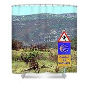 El Camino De Santiago De Compostela, Spain, Sign Shower Curtain