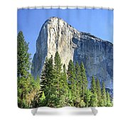 El Capitan Over The Merced River - Yosemite Valley Shower Curtain
