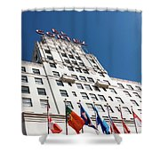 El Cortez With Flags Shower Curtain