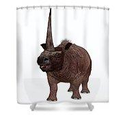 Elasmotherium On White Shower Curtain