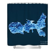 Elba Island Topographic Map Blue Color Top View Shower Curtain
