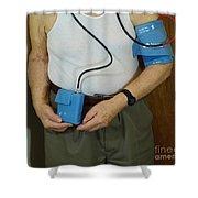 Elderly Man Wearing A Blood Pressure Shower Curtain