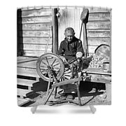 Elderly Woman Spinning Wool, C.1920s Shower Curtain