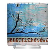 Electric Blue Skies Shower Curtain