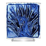 Electric Blues Peacock Shower Curtain