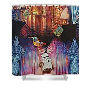 Electric Forest-people Building Houses In The Trees Shower Curtain