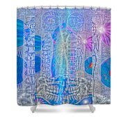 Electric Girls Squared Shower Curtain