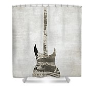 Electric Guitar Sepia Shower Curtain