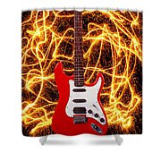 Electric Guitar With Sparks Shower Curtain