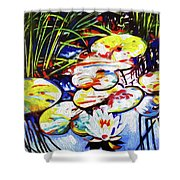 Electric Lillypads Shower Curtain