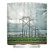 Electric Lines And Weather Shower Curtain