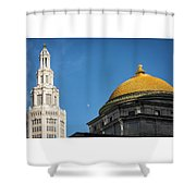 Electric Moon Gold  Shower Curtain