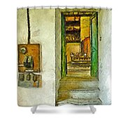 Electric Panel Of The Ceramic Laboratory Shower Curtain