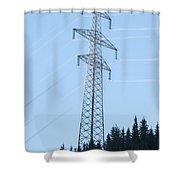 Electric Pylon On Blue Sky Shower Curtain