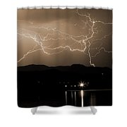 Electric Sepia Skies  Shower Curtain
