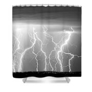 Electric Skies In Black And White Shower Curtain