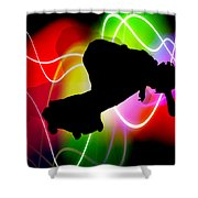 Electric Spectrum Skateboarder Shower Curtain