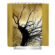 Electric Tree Black And Gold Shower Curtain