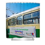 Electric Trolley Took Us To The Port In Valparaiso-chile  Shower Curtain