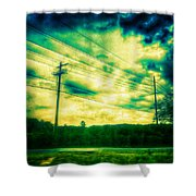 Electric Wires Across The Land Shower Curtain