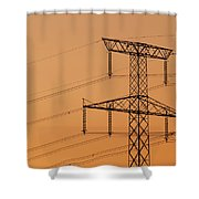 Electricity Pylon At Sunset  Shower Curtain