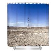 Electricity Pylon In Desert Shower Curtain