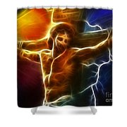 Electrifying Jesus Crucifixion Shower Curtain