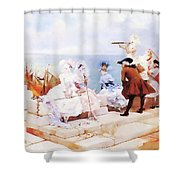 Elegant Figures Watching The Regatta Shower Curtain