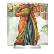 Elegant Lady In Snow, Christmas Card Shower Curtain