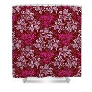 Elegant Red Floral Design Shower Curtain