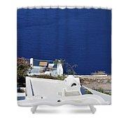 Elegant Restaurant In Santorini, Greece  Shower Curtain