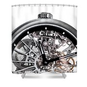 Elegant Watch With Visible Mechanism, Clockwork Close-up. Shower Curtain