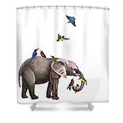 Elephant With Birds Illustration Shower Curtain