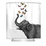 Elephant Blowing Butterflies From His Trunk Shower Curtain