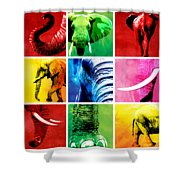 Elephant Animal Decorative Colorful Multiptych 1 - By  Diana Van  Shower Curtain