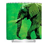 Elephant Animal Decorative Green Wall Poster 4 Shower Curtain