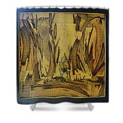 Elephant Artwork With Wooden Waste Shower Curtain