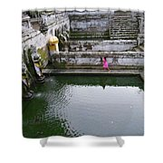 Elephant Cave Temple Fountain Shower Curtain